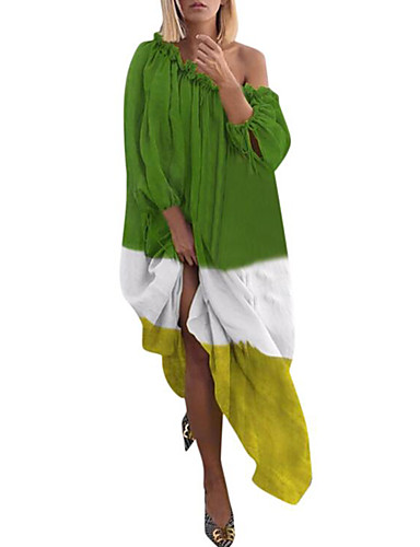 voordelige Maxi-jurken-Dames Street chic Elegant Recht Jurk - Gestreept Geometrisch, Geplooid Print Maxi
