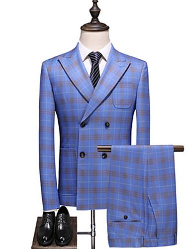 voordelige Herenblazers & kostuums-Heren Pakken, Ruitjes Ingesneden revers Polyester Licht Blauw