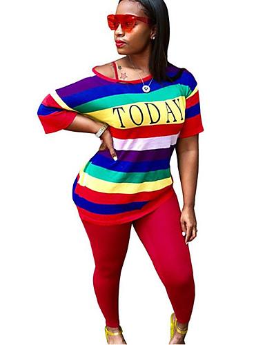 billige Dametopper-Dame Sett Bukse Regnbue