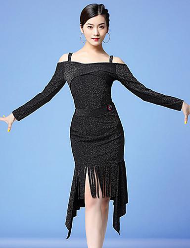 voordelige Shall We®-Latin dans Outfits Dames Opleiding / Prestatie Melkvezel Glitter / Kwastje Lange mouw Natuurlijk Rokken / Top