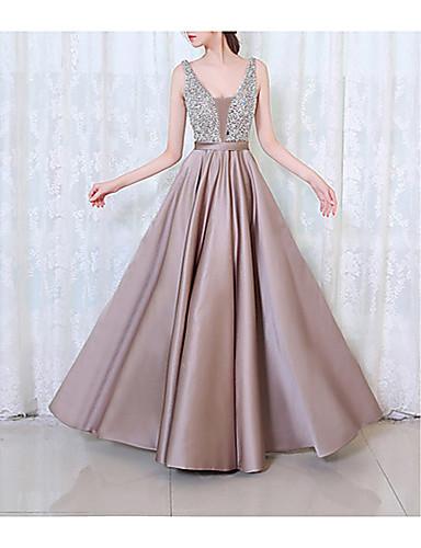 voordelige Maxi-jurken-Dames Feest A-lijn Jurk - Effen, Sierstenen V-hals Maxi / Sexy