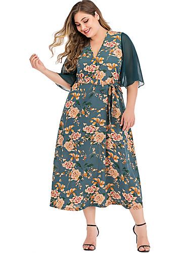 voordelige Maxi-jurken-Dames Elegant Schede Jurk - Bloemen, Patchwork Print Maxi