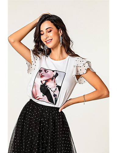 billige Dametopper-T-skjorte Dame - Portrett, Drapering / Lapper Grunnleggende Hvit Hvit