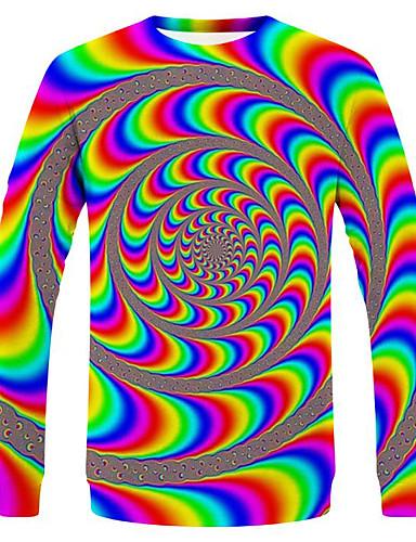 voordelige Heren T-shirts & tanktops-Heren Street chic / overdreven T-shirt 3D / Regenboog / Paisley Regenboog