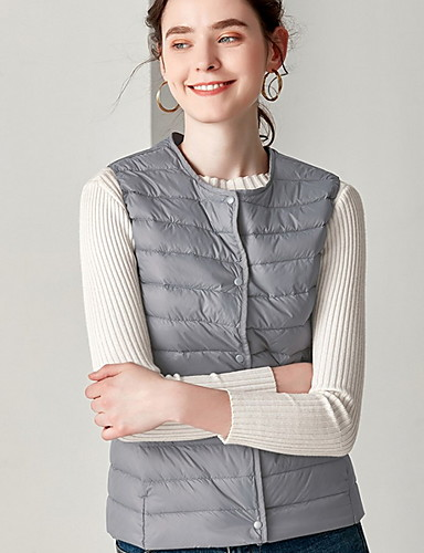 voordelige Dames donsjassen & parka's-Dames Effen Vest, Polyester Zwart / Wijn / Wit M / L / XL
