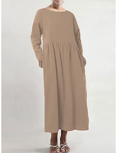 voordelige Grote maten jurken-Dames Standaard Wijd uitlopend Jurk - Effen, Met ruches Patchwork Maxi