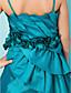 cheap Junior Bridesmaid Dresses-Ball Gown Spaghetti Straps Tea-length Taffeta Junior Bridesmaid Dress
