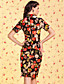 cheap TS Dresses-TS VINTAGE Velvet Floral Print Bodycon Chineses Dress