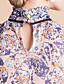 billige TS Toppe-TS Print Chiffon Stand Collar Ruffle Bluse Shirt