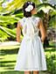 billige Brudekjoler-A-linje Prinsesse V-hals Knælang Chiffon Brugerdefinerede Bryllupskjoler med Rosette Drapering Bælte / bånd ved LAN TING BRIDE®