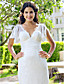 preiswerte Hochzeitskleider-Eng anliegend V-Ausschnitt Pinsel Schleppe Spitze Hochzeitskleid mit Spitze durch LAN TING BRIDE®