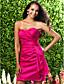 cheap Bridesmaid Dresses-Sheath / Column Strapless Sweetheart Short / Mini Taffeta Bridesmaid Dress with Flower Side Draping by LAN TING BRIDE®