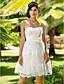 Linia -A Prințesă In Formă de Inimă Lungime Genunchi Dantelă Rochie de mireasă cu Eșarfă / Panglică Flori de LAN TING BRIDE®