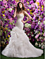 Mermaid / Trumpet Sweetheart Court Train Organza Wedding Dress with Beading Pick-Up by LAN TING BRIDE®