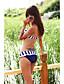 tanie Bikini i odzież kąpielowa 2017-Damskie Prążki Cover Up Stroje kąpielowe Blok kolorów Push Up Bandeau Niebieski