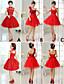 cheap Bridesmaid Dresses-A-Line Princess Strapless Short / Mini Tulle Bridesmaid Dress with Flower Ribbon by QQC Bridal