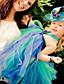 baratos Vestidos para Daminhas de Honra-De Baile Longuette Vestido para Meninas das Flores - Poliéster / Tule Sem Manga Nadador com de