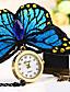 hesapli Bileklik Saatler-Bayanların Moda Saat Bilezik Saat Quartz Gündelik Saatler Kumaş Bant Kelebek Zarif Mavi Kırmızı Kırmzı Mavi