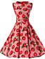 baratos Vestidos de Mulher-Mulheres Para Noite Vintage Algodão balanço Vestido Fruta Altura dos Joelhos