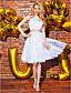 A-Şekilli Boyundan Bağlamalı Diz Boyu Dantelalar Saten Kokteyl Partisi Mezunlar Günü Balo Elbise ile Dantel tarafından TS Couture®