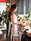 저렴한 여성용 드레스-여성의 빈티지 / 심플 칼집 드레스 플로럴 무릎 위 라운드 넥 폴리에스테르 / 스판덱스