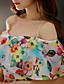 baratos Vestidos de Mulher-Mulheres Vestido Evasê Sensual Floral Acima do Joelho Com Alças Poliéster