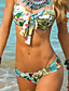 baratos Lingerie de Moda-Feminino Estampado Nadador,Biquíni Roupa de Banho Floral,Poliéster Branco
