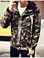 お買い得  メンズジャケット-男性 カジュアル/普段着 秋 カモフラージュ ジャケット,シンプル シャツカラー グリーン コットン 長袖 薄手
