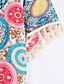 billige Todelte sæt til damer-Kortærmet Rund hals Medium Kvinders Rosa / Gul Trykt mønster Sommer Street Casual/hverdag Sæt,Polyester