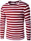 Polyester Blå / Rød / Sort / Grønn Medium Langermet,Rund hals T-skjorte Stripet Høst / Vinter Enkel Fritid/hverdag Herre