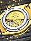 preiswerte Mechanische Uhren-AngelaBOS Herren Mechanische Uhr Transparentes Ziffernblatt Strass Automatikaufzug Edelstahl Band Glanz Cool Weiß Gold
