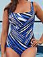 baratos Biquínis e Roupas de Banho Femininas-Mulheres Com Laço / Boho Nadador Azul Real Maiô Roupa de Banho - Listrado XL XXL XXXL