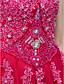 halpa Iltapuvut-Tanssiaismekko Prinsessa Illusion Pääntie Kokopitkä Pitsi Tylli Muodollinen iltajuhla Mekko kanssa Koristehelmillä Kristallikoristelu