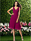 Χαμηλού Κόστους Φορέματα Παρανύμφων-Γραμμή Α Λαιμόκοψη V Μέχρι το γόνατο Σιφόν Φόρεμα Παρανύμφων με Που καλύπτει / Πιασίματα με LAN TING BRIDE®