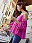 저렴한 여성용 상의-여성 솔리드 V 넥 짧은 소매 셔츠,섹시 스트리트 쉬크 정교한 디테일 파티/칵테일 클럽 휴일 폴리에스테르 여름 불투명 얇음
