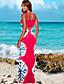 Dámské Vintage Běžné/Denní Bodycon Pouzdro Šaty Jednobarevné Květinový,Krátký rukáv Hluboké U Maxi Bavlna Léto High Rise Lehce elastické