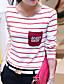 Damen Gestreift Einfach Lässig/Alltäglich T-shirt,Rundhalsausschnitt Frühling Langarm Baumwolle Undurchsichtig