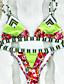 Dame Bikini Fargeblokk Blomstret Snøring Grime Trykt mønster