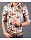 billige Herreskjorter-Bomull Annet Langermet,Skjortekrage Skjorte Ensfarget Blomstret Trykt mønster Enkel Fritid/hverdag Arbeid Herre
