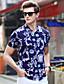 Bomull Spandex Tynn Kortermet,Skjortekrage T-skjorte Blomstret Geometrisk Sommer Enkel Fritid/hverdag Arbeid Plusstørrelser Herre