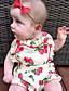 preiswerte Babyoverall-Baby Mädchen Einzelteil Baumwolle Sommer Ärmellos Blumig Weiß
