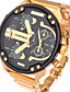cheap Military Watches-Men's Military Watch Chinese Calendar / date / day / Creative / Dual Time Zones Stainless Steel Band Charm / Luxury / Casual Black / Gold / Large Dial