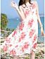 preiswerte Damen Kleider-Damen Swing Kleid-Ausgehen Lässig/Alltäglich Strand Einfach Blumen Bateau Midi Ärmellos Baumwolle Sommer Mittlere Hüfthöhe Mikro-elastisch