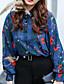 رخيصةأون بلوزات نسائية-نساء بلوزة كاجوال/يومي بسيط طباعة قبعة القميص كم طويل قطن أخرى