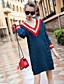 preiswerte Damen Kleider-Damen Bodycon Kleid-Ausgehen Lässig/Alltäglich Einfarbig V-Ausschnitt Knielang Langarm Polyester Nylon Andere Herbst Winter Mittlere