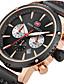 זול עור-MINI FOCUS בגדי ריקוד גברים שעון יד Japanese קווארץ לוח שנה שעון עצר שעונים יום יומיים עור אמיתי להקה אנלוגי יום יומי מינימליסטי שחור / כחול / חום - שחור חום כחול / מתכת אל חלד