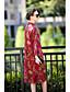 Damen Hülle Kleid-Lässig/Alltäglich Solide Blumen Ständer Midi Langarm Baumwolle Kunstseide Herbst Mittlere Hüfthöhe Mikro-elastisch