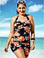 baratos Biquínis e Roupas de Banho Femininas-Mulheres Tamanhos Grandes Decote mergulhador Maiô - Floral, Estampado Perna do Menino