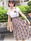 preiswerte Damen zweiteilige Anzüge-Damen Freizeit T-shirt - Blumen Rock / Sommer