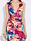 levne Dámské šaty-Dámské Bodycon Pouzdro Šaty - Duhová, Nabírané šaty Maxi Hluboké V High Rise